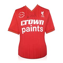 Ian Rush Signed Liverpool 1986 Double Winning Soccer Jersey by exclusivememorabilia.com