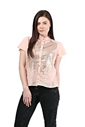 Mayra Women's Georgette Shirt (1512T11174_M , Pink )