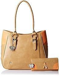 Butterflies Women's Handbag (Beige) (Bns Wb054)