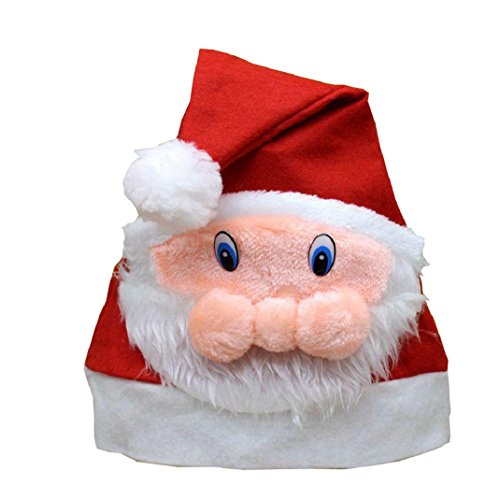 Shensee Chirstmas Costume Lovely Red Hat Cozy Soft Warm Children Santa Headgear
