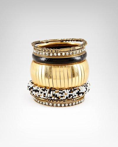 Bebe Seed Bead Textured Bangle Set Gold onesize