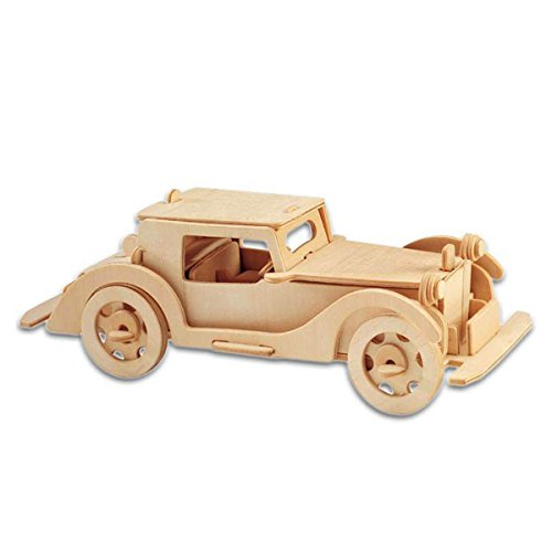 Blue ELF ® 3D Jigsaw Woodcraft Kit Wooden Toy Puzzle Model-- Rolling Automobile