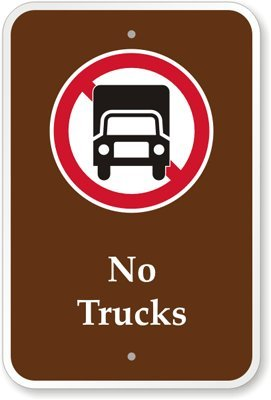 """No Trucks (With Graphic) Sign, 18"""" X 12"""""""