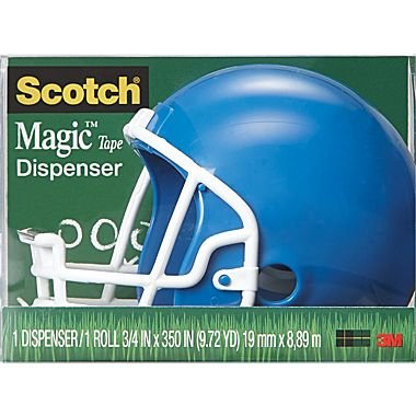 Scotch® Magic Tape Dispenser - Blue Football Helmet kitmmmc214pnkunv10200 value kit scotch expressions magic tape mmmc214pnk and universal small binder clips unv10200