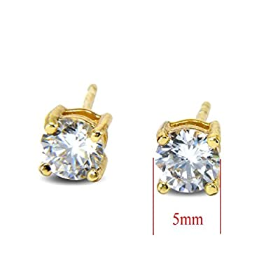 Blue Diamond Club - 9ct Gold Filled Small Stud Earrings White 5mm CZ Crystals Womens