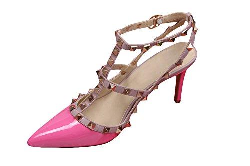 wanmi pupms da donna con tacchi Alti ROCKSTUD Pointy Toe cinturino alla caviglia Slingback brevetto scarpe sandali, donna, Rosered, 37