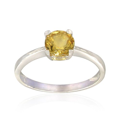 Sterling Silver Round-Shaped Citrine Ring, Size 8