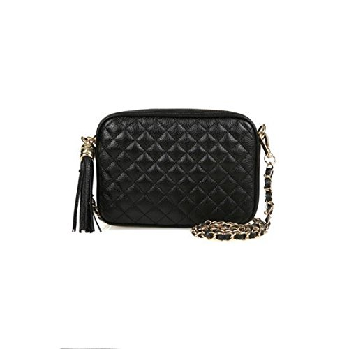 dearwyw-women-genuine-cow-leather-mini-waffle-quilted-square-cross-body-shoulder-bag-black