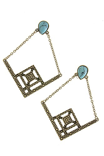 Trendy Fashion Jewelry Textured Geometric Frame Earrings By Fashion Destination | (Antique Gold)