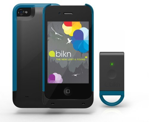 BiKN Locator Device for iPhone 4/4S Case and Tag (Black and Teal)