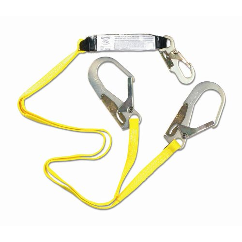 Guardian Fall Protection 01218 4-Foot Double Leg Shock Absorbing Lanyard with Rebar Hook End