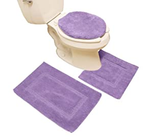 3 Pieces Dark Purple Microfiber Bathroom Rugs