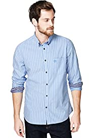"2"" Longer Blue Harbour Pure Cotton Slim Fit Striped Oxford Shirt"