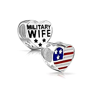 Bling Jewelry Sterling Military Wife Heart Patriotic USA Flag Bead Fits Pandora from Bling Jewelry