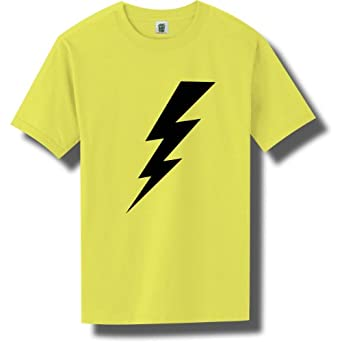 Lightning Bolt Bright Neon Blue Short Sleeve T-Shirt - Small