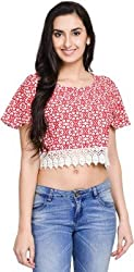 Addyvero Women's Carmine Red Crop top
