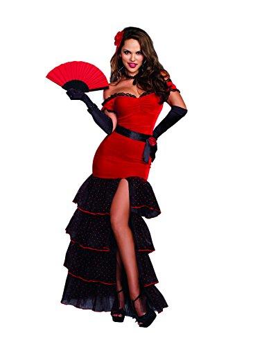 Dreamgirl Women's Flamenco Spanish Dancer Costume, Red/Black, Medium (Adult Spanish Dancer Costume)