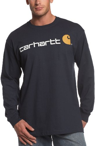 Carhartt Men'S Long-Sleeve Logo T-Shirt, Navy, X-Large Regular front-220678