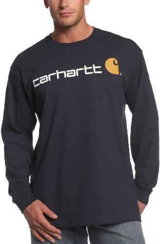Carhartt Men's Long-Sleeve Logo T-Shirt, Navy, Large Tall
