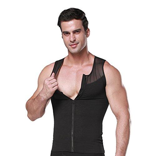 ZEROBODYS Shirt netto Zipper Addome Body Shaper dimagrante uomo elastico Sculpting carro armato della maglia che modella la maglia SS-M09 (Nero, L)