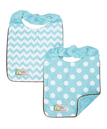 Baby Boy Bib Set of 2 - Reversible -Polka Dots & Chevron on Aqua Minky