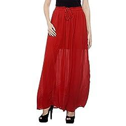 HansTann Women's Gathered Skirt (HTSKRD01_Red_Free Size)