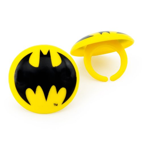 Bakery Crafts Batman Rings Party Supplies Offcial DC Product (8 Pack)