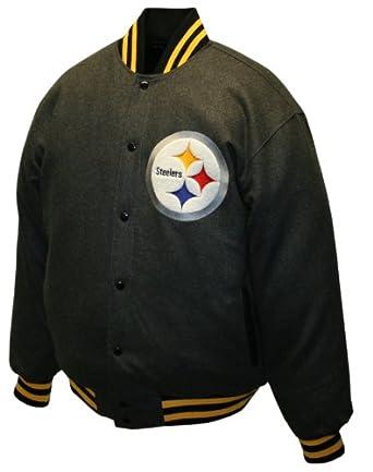 NFL Mens Pittsburgh Steelers Charcoal Dual Edge Reversible Wool Jacket by MTC Marketing, Inc