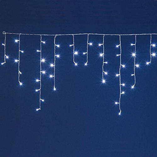 LED-Eiszapfen-Lichterkette mit Lichtsensor, 3 x 0,8 m, 96 Leds kaltweiß, mit Lichtspielen, transparentes Kabel, Weihnachtsbeleuchtung, Weihnachtslichterkette, Eisregen Lichterkette, mit Dämmerungs-Sensor