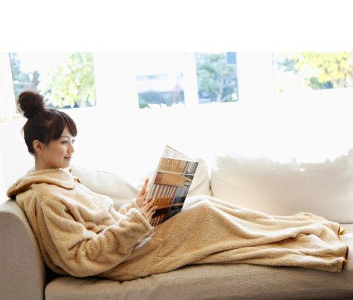 マイクロファイバー製着る毛布 洗える袖付ブランケット fu-mo(フーモ) ベージュ FU-MO-0011-BE