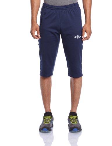 Umbro - Pantaloni Nation a 3/4 da uomo, Blu (Navy/bianco), L
