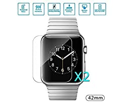 2*pack,Coespow Apple iWatch Screen Protector,Tempered Glass Screen Protector Ultra High Definition, 9H Hardness 0.2mm thickness,Protect Your Apple Watch Screen from Scratches and Drops[for 42mm]