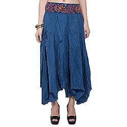 TUNTUK Women's Karma Skirt Blue Cotton Skirt