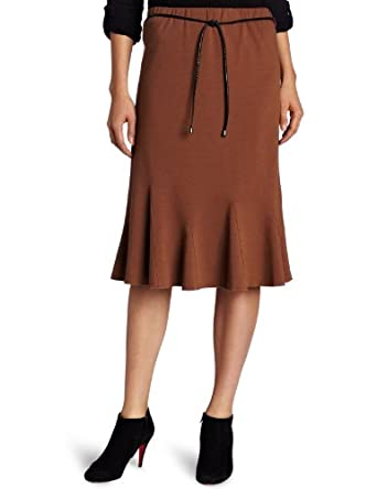 Notations Women's Long Ponte Skirt, Dark Brown, Small