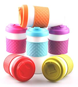 Set of 6 Large Sized 24oz BPA-Free Double-Wall Travel To-go Mugs with Comfort Grip