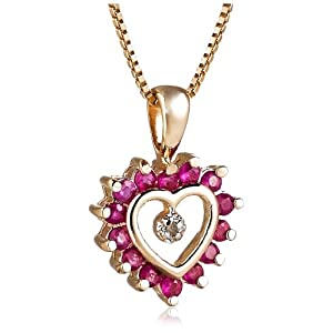 18K Yellow Gold Plated Ruby and Diamond Heart Pendant