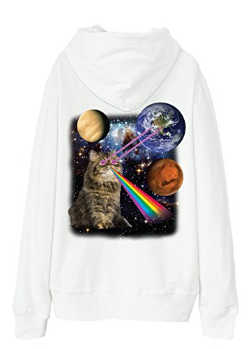 S-XXL Unisex Pullover Hoodie 13 Colors - Persian cat eye lasers into galaxy