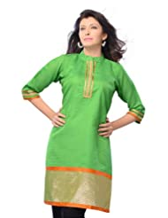 Miss & Mrs Women's Art Silk Green 3/4 Sleeve Kurti