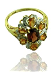 Carillon India Red Garnet Flower Shape 18K Yellow Gold Plated Hessonite Cz 925 Silver Ring