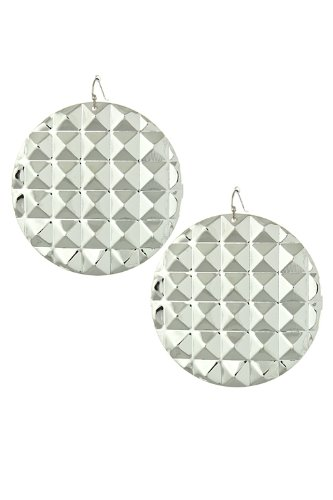 Trendy Fashion Jewelry Stud Pressed Metal Earrings By Fashion Destination | (Silver) front-581466