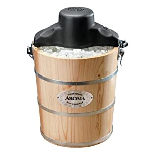Aroma AIC-204EM 4-Quart Wood-Barrel Ice-Cream Maker, Natural Wood