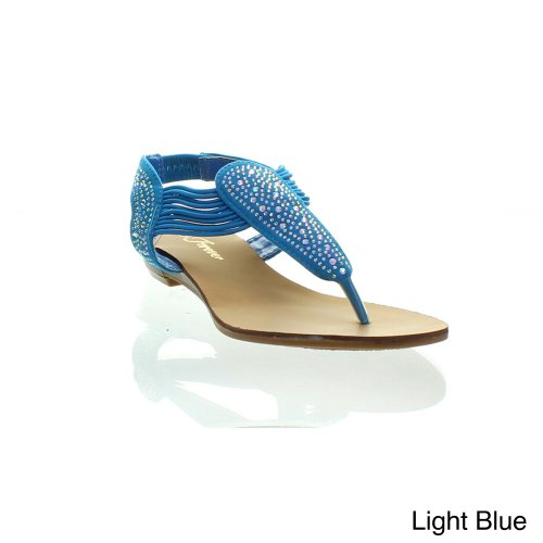 Forever Harris-2 Women'S New Hot Fashion Mini Wedge Bottom Thong Sandals, Color:Light Blue, Size:6.5