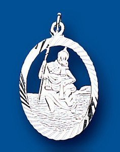JR Jewellery Solid .925 Sterling Silver Diamond Cut Edge Open Oval St. Christopher 26 x 16mm