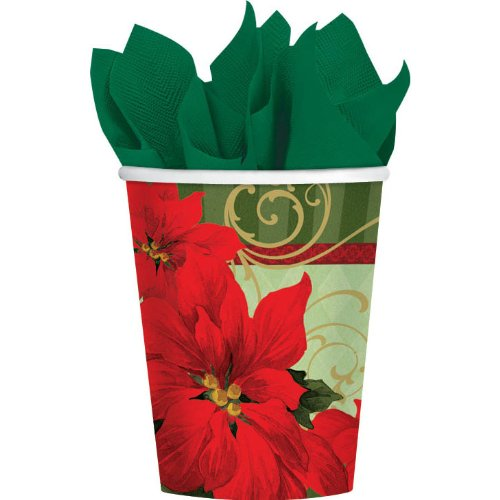 9OZ HOT/COLD CUPS VINTAGE POINSETTIA P18 - 1