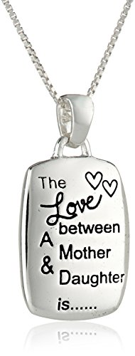 Mother/Daughter Engraved Rectangular Pendant Necklace, 18