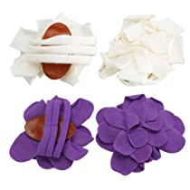 niceEshop 2 Pairs Newborn Wrap Flower Sandals Purple&White