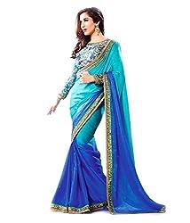 Shree fashion women's Top Fabrics semi stitched blue GEORGETTE saree