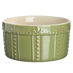 Signature Housewares Sorrento 16-Ounce Stoneware Souffle Dish, Green