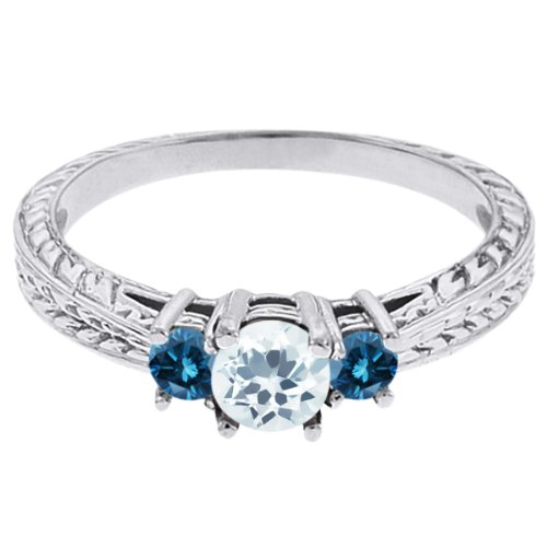 0.57 Ct Round Sky Blue Topaz Blue Diamond 18K White Gold 3-Stone Ring