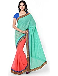 Sarvagny Clothings Sea Green & Peach Jacquard Fashion Saree (FOIL-PRINT-PEACH)